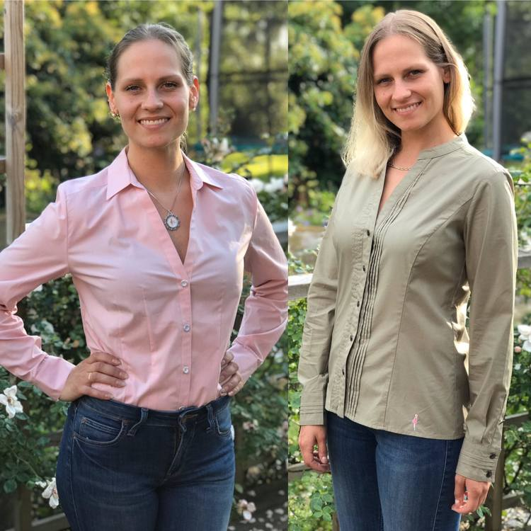 Skjortan Lina rosa och skjortan Lotta mossgrön. Båda i ekologisk bomull.