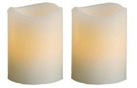 Batteristyrt ljus vax vit med ojämn kant LED 2pack