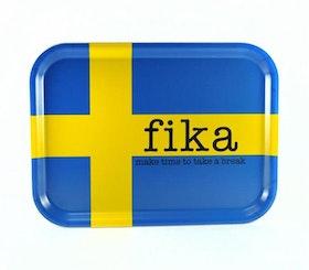 Mellow Design Bricka FIKA Svenska Flaggan