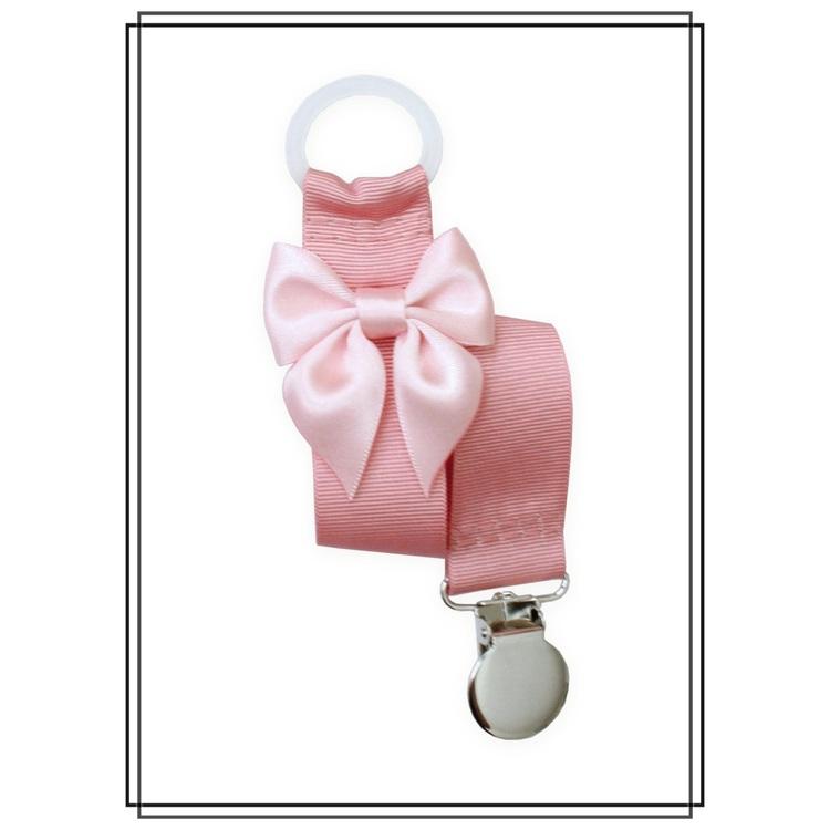 Gammelrosa napphållare med blekrosa rosett - silver