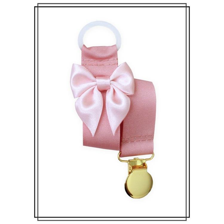 Gammelrosa napphållare med blekrosa rosett - guld