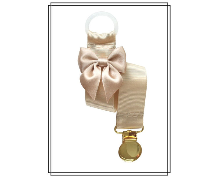 Beige napphållare med rosett - guld