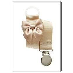 Beige napphållare med rosett - silver