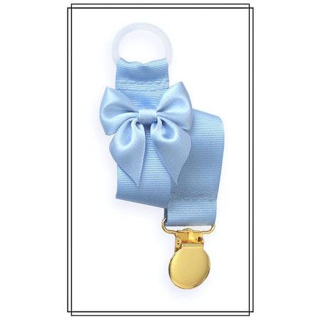 Ljusblå napphållare med rosett - guld