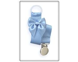 Ljusblå napphållare med rosett - silver