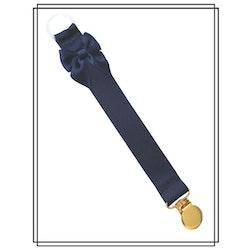 Marinblå napphållare med rosett - guld