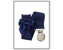 Marinblå napphållare med rosett - silver