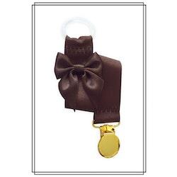 Brun napphållare med mörkbrun rosett - guld