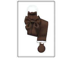 Brun napphållare med mörkbrun rosett - brunt clip
