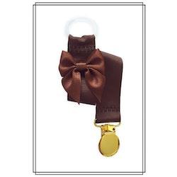 Brun napphållare med brun rosett - guld
