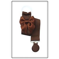 Brun napphållare med brun rosett - brunt clip