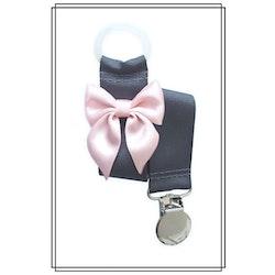 Mörkgrå napphållare med blekrosa rosett - silver
