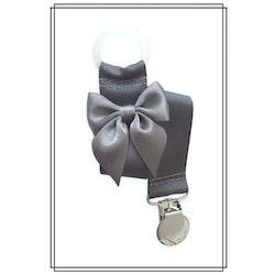 Mörkgrå napphållare med mörkgrå rosett - silver