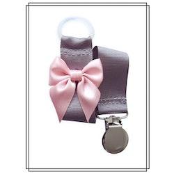 Grå napphållare med blekrosa rosett - silver