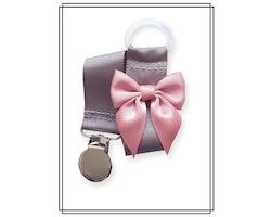 Grå napphållare med gammelrosa rosett - silver