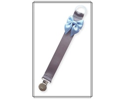 Grå napphållare med ljusblå rosett - silver