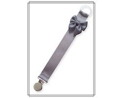 Grå napphållare med mörkgrå rosett - silver