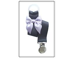 Mörkgrå napphållare med ljuslila rosett - silver