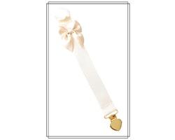 Gräddvit napphållare med champagnefärgad rosett - guldhjärta