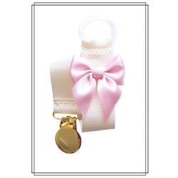 Gräddvit napphållare med blekrosa rosett - guld