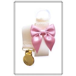 Gräddvit napphållare med gammelrosa rosett - guld