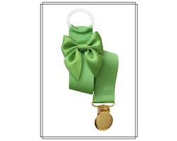 Grön napphållare med rosett - guld
