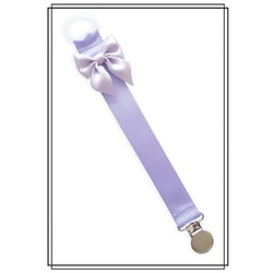 Ljuslila napphållare med ljuslila rosett - silver