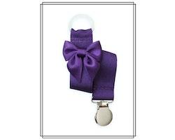 Lila napphållare med mörklila rosett - silver
