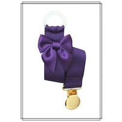 Lila napphållare med mörklila rosett - guld