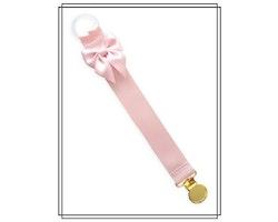 Ljusrosa napphållare med blekrosa rosett - guld