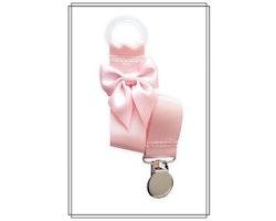 Ljusrosa napphållare med blekrosa rosett - silver