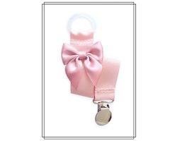 Ljusrosa napphållare med gammelrosa rosett - silver