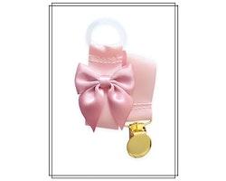 Ljusrosa napphållare med gammelrosa rosett - guld