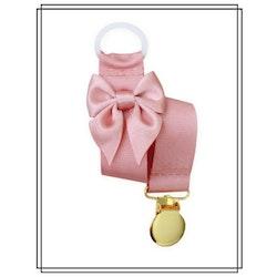 Gammelrosa napphållare med rosett - guld