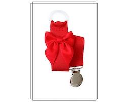 Röd napphållare med rosett - silver