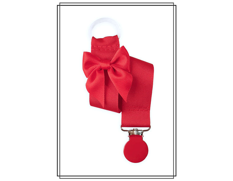 Röd napphållare med rosett - rött clip