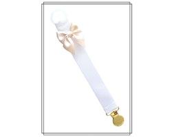 Vit napphållare med champagnefärgad rosett - guld