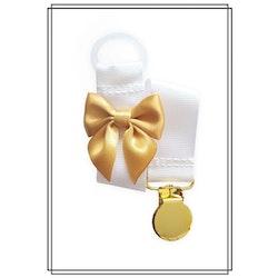 Vit napphållare med guldfärgad rosett - guld