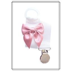 Vit napphållare med gammelrosa rosett - silver
