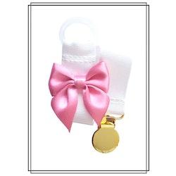 Vit napphållare med rosa rosett - guld