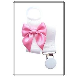 Vit napphållare med rosa rosett