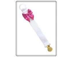 Vit napphållare med cerise rosett - guld