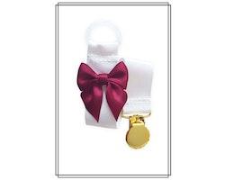 Vit napphållare med vinröd rosett - guld