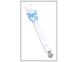 Vit napphållare med ljusblå rosett - silver