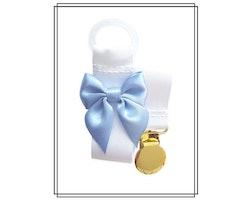 Vit napphållare med ljusblå rosett - guld