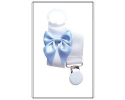 Vit napphållare med ljusblå rosett
