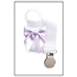 Vit napphållare med ljuslila rosett - silver