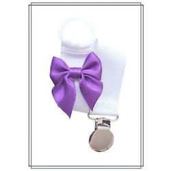Vit napphållare med lila rosett - silver