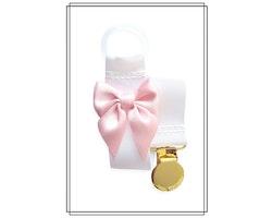 Vit napphållare med blekrosa rosett - guld