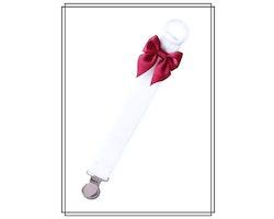 Vit napphållare med vinröd rosett - silver